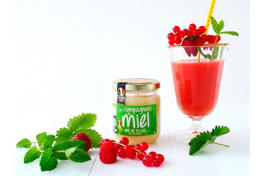recette Smoothie Pêche Fruits Rouges au Miel de Tilleul