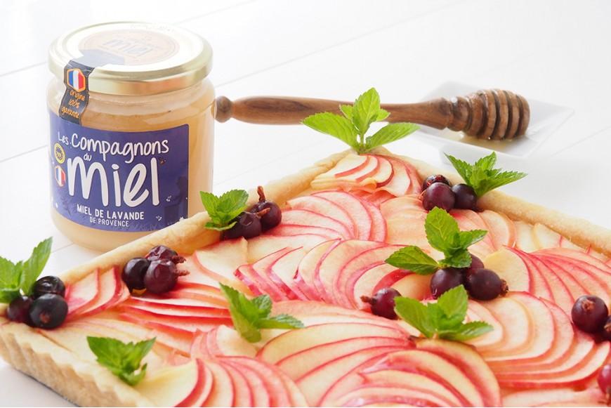 recette Tarte aux pommes amandine au miel de Lavande