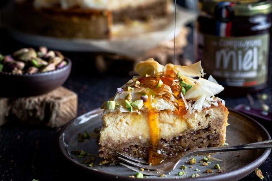 recette Cheesecake façon baklava au miel de châtaignier