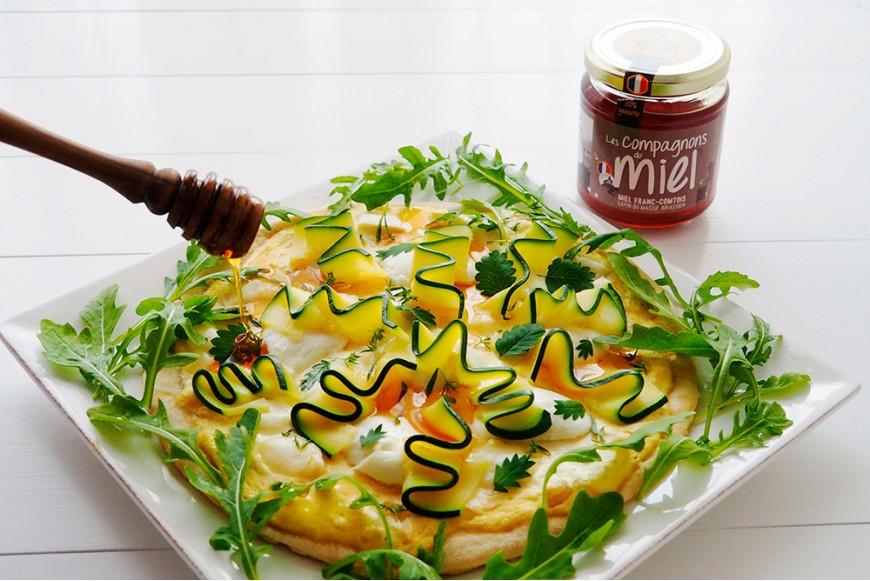 Recette Tarte blanche au fromage aux courgettes et au Miel de Sapin