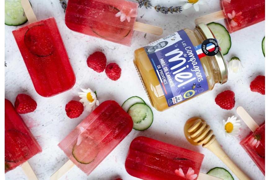 Recette Glaces popsicles miel de lavande, framboises, concombre et fleurs